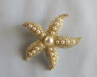 Starfish Goldtone brooch - vintage