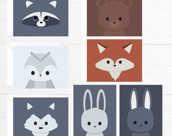 Blank Card set of 7 forest animals