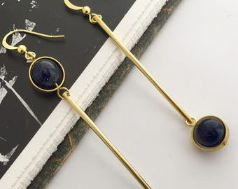 2017015# SIMPLE CHIC_Galaxy Marble Golden Earrings