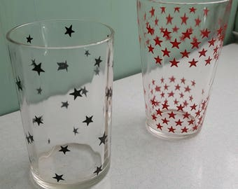 Set of Two Star Pattern Swanky Swig Juice Glasses