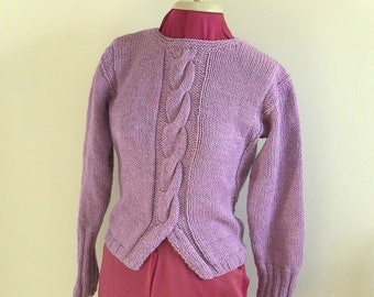Hand Knitted, Women's Aran Cable Jumper, Pure Wool, Aran Jumper, Aran Sweater.  100% Wool, handmade. *** FREE P&P TO UK ***