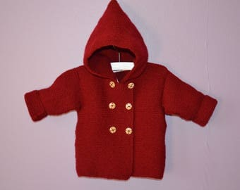 """""""Cherry red"""" colour wool hand knitted hooded coat"""