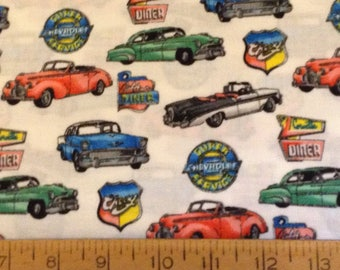 Chevy classic cars cotton fabric by the yard