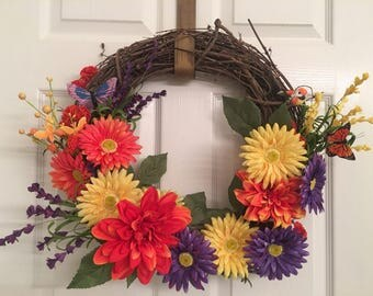 Purple yellow and orange wreath