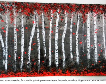 Abstract - Enchanded forest - Original acrylic painting 3Dleaves