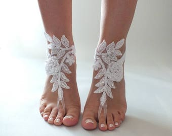 EXPRESS SHIPPING beach wedding barefoot sandals white or ivory lace barefoot sandals , belly dance, lace shoes, bridesmaid gift, beach shoes