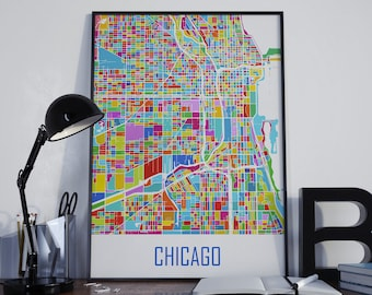 Chicago Map Chicago Watercolor Chicago Travel Map Chicago Street Map Chicago City Map Chicago Map Poster Chicago Map Photo Chicago Map Print