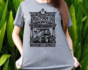 Platform 934 shirt Harry Potter shirts bold text t-shirts Shot sleeves tumblr Unisex Adult size S/M/L/XL/2XL