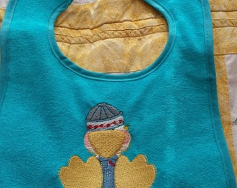 Emrbroidered Baby Bib with Ducky