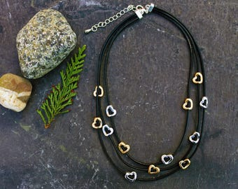 Heart beaded chord necklace
