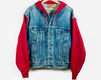 women's denim vintage + hoodie jacket