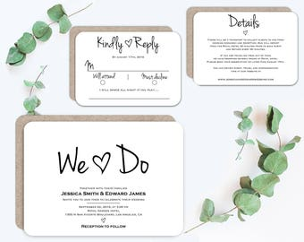 We Do Wedding Invitation Template, Wedding Invitation set, Modern wedding Invitation, Wedding Invitation printable, Instant download