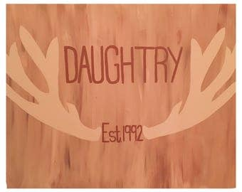 Country Rustic Canvas Deer Antlers Wall Decor