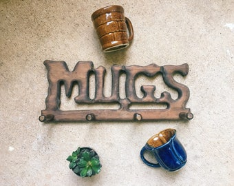 Vintage MUGS Peg Rack, Kitchen Storage, Boho Enesco Pegs, Made in Taiwan