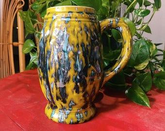 Dripware Beer Stein, Large Glazeware Mug, Vintage Green Ceramic Barware