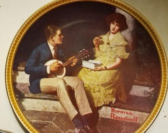 """Norman Rockwell Plate """"Pondering on the Porch"""""""