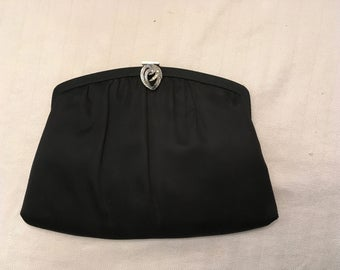 HL USA black satin vintage evening bag
