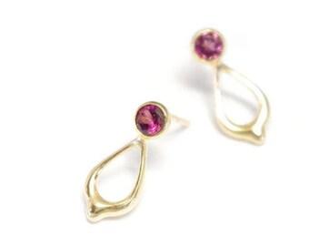 Drop Earrings - Rhodolite Garnet-