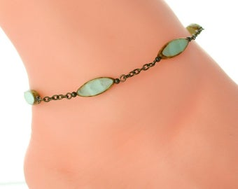Beach ankle jewelry, seafoam