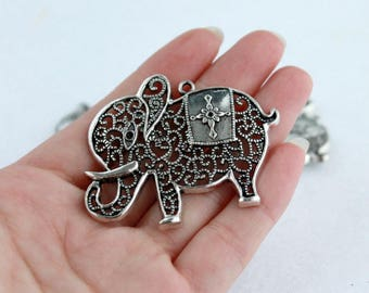 Large Silver Tone Charm Pendant/ Charms/ Elephant of 55x45 mm pack 4 pcs
