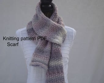 Women's Multicolor Textured Scarf-Knitting Pattern PDF- Download Pattern- DIY - Online Knitting Pattern -  Women's scarf- Knit Easy