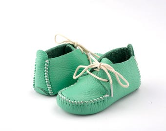 First Step Handmade Natural Leather Baby Shoe EUR 18- 19 Green