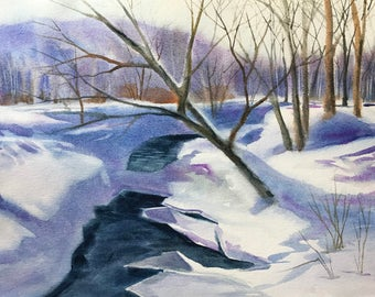 "Original watercolor painting ""A Stream Through Snow"" winter landscape snow scene"