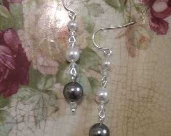 Handmade crystal and Swarovski pearl sterling silver earrings wedding earrings