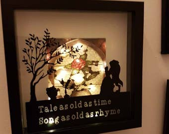 Hand Made Beauty and The Beast Light Up Shadow Box Frame. Tale as old as time. Enchanted Rose