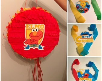 Full size pull-string Sesame Street piñata, 12 & 16 inches