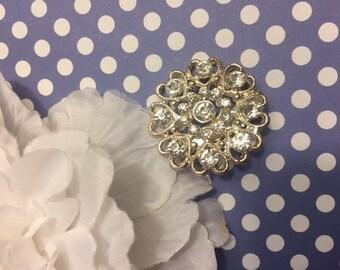 Vintage Diamond Brooch Silver Spring Fashion Jewelry