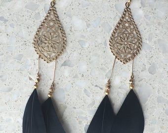 Drop feather chandelier earrings
