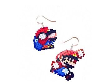 Mario Earrings/gamer earrings/pixel earrings/perler earrings/geeky earrings/videogame earrings/Nintendo/mini hama bead/perler bead/32bit/