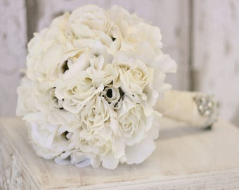 Silk Bride Bouquet Cream and White Shabby Chic Vintage Inspired Rustic Wedding