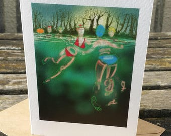 greetings card: winter swimming, 'Last Swim of 2015', outdoor swimming, triathlon. Drawing by Nancy Farmer