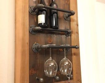 Iron pipe wine rack