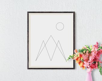 Minimalist Abstract Art, Mountain Print, Modern Art Print, Nordic Art, Printable Art, Black and White Print, Nature Art, Instant Download