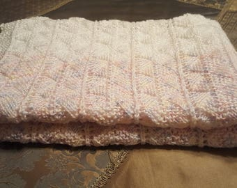 Baby Blanket Knitted White/Pink