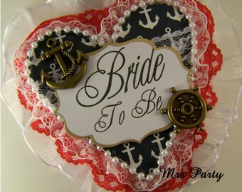 Anchor Bride To Be Corsage Bridal Shower Badge Nautical Bride To Be Corsage Anchor Nautical Bachlorette Badge Anchor Bride Pin