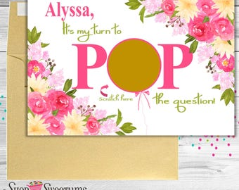 Pop the Question scratch off bridesmaid card