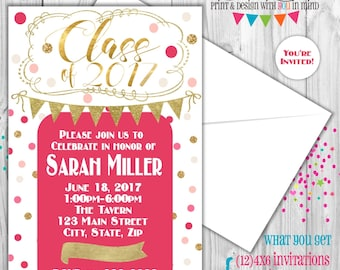 Pink and Gold graduation invitation set of 12