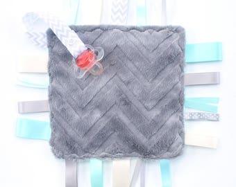 Baby Ribbon Tag Blanket- Lovey  Sensory Baby Toy- Gray Chevron Aqua