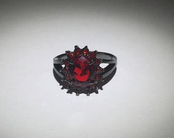 Cubic Zirconia Red Gemstone Silver Ring Size 7