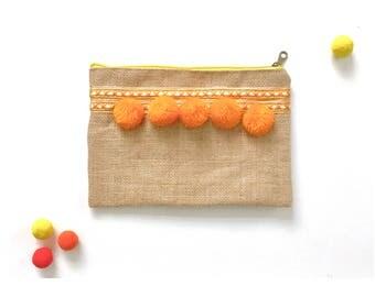 Pom Pom moroccan clutch travel pouch cosmetic bag nappy bag