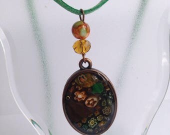 Green Orange Glass and Resin Copper pendant Necklace With Magnetic Clasp