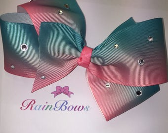Large pink blue Ombré hair bow