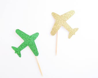 Airplane Cupcake Toppers - Airplane Toppers - Cupcake Toppers - Airplane Birthday