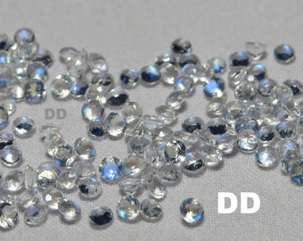 Top Quality moonstone faceted round faceted rainbow moonstone round blue flash faceted moonstone loose gemstones - Size-2mm