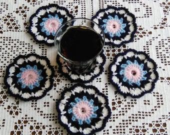 Crochet flower coasters,handmade coasters,set of 6 coasters