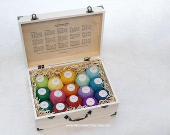 Ultimate Gift Set! Organic Ingredients, 4.5 oz All Natural Bath Bombs, Large Size, Wooden Crate with 15 BIG bath Bombs